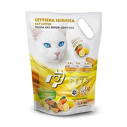 6 Sacchi Professional Pets Lettiera igienica Agrumi 5,8 lt – Lettiera al silicio per gatti, batteriostatica, anallergica, sicura