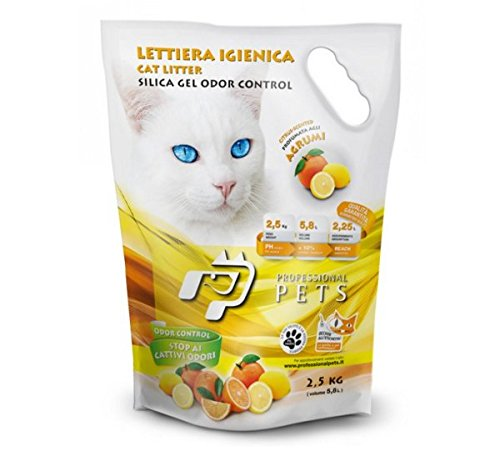 6 Sacchi Professional Pets Lettiera igienica Agrumi 5,8 lt - Lettiera al silicio per gatti, batteriostatica, anallergica, sicura