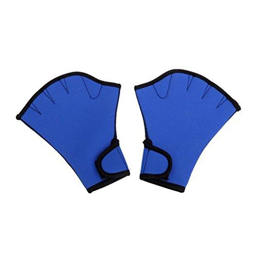 Isuper 1 Paar Aqua-Trainingshandschuhe für Schwimmtraining, Neopren, langlebig, Handschuhe in Blau