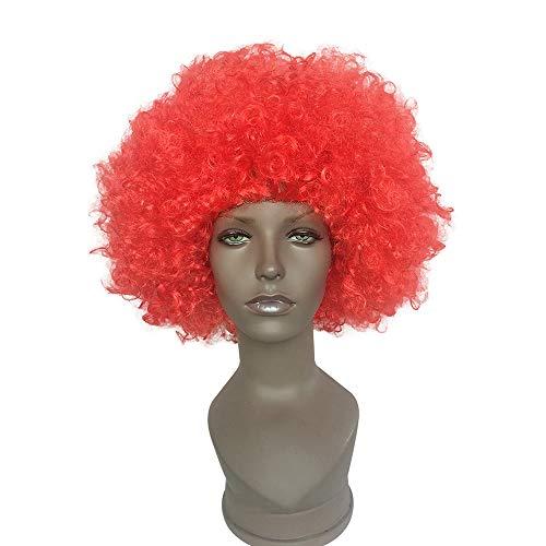 WANG Perücke Mode Halloween Explosion Kopf Clown Fans Gradienten Rolle Festival Party Europa und Amerika Perücke Kopfbedeckungen (Farbe : Red)