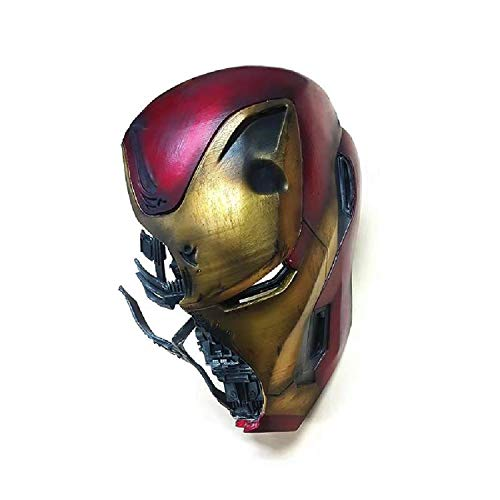 QWEASZER Iron Man Helm Maske Battle Damage Version, Marvel Avengers 4 Superheld Harz Vollmasken Helme Halloween Film Cosplay Kostüm Requisiten Handwerk,Iron Man-31cm*20cm*23cm (Iron Mann Kostüm Spiel)