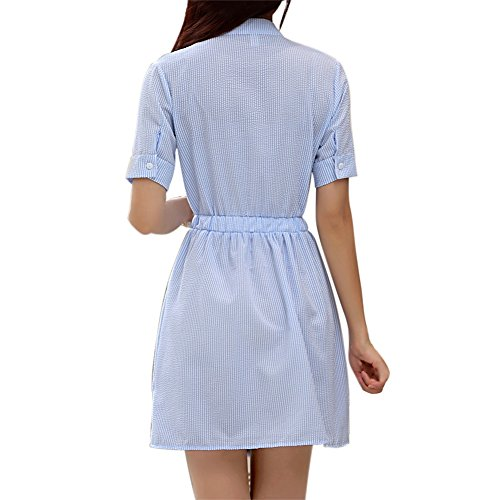 Yalatan Donne Manica corta A strisce Vestito Casuale Estate Spiaggia Partito Mini Camicia Vestito Blu Blu