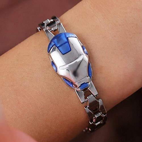 Inveroo Mode Avengers Iron Man Armband Superheld Zinklegierung Kette Silber Blau Rot Armbänder & Bangles Survival Armband
