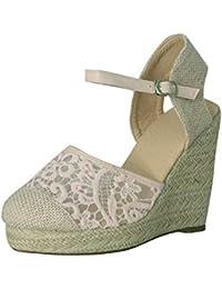 Minetom Mujer Sandalias de Plataforma Tacón Alto Cuña Elegante Encaje Alpargatas Espadrilles Hebilla Chancletas Zapatillas Confort