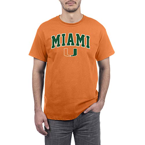 eLITe Fan Shop NCAA Herren-T-Shirt, kurzärmelig, Herren, Team Color Arch Short Sleeve T-Shirt, Miami Hurricanes Green, Large Green Hurricane