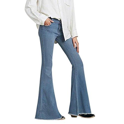 Lisli Damen Jeans 60er 70er Vintage Stil Bootcut Hose Schlaghose Casual Stretch Jeanshose Hüftjeans Weite Schlagjeans Flare Jeans Denim Flare Denim Jeans-hose