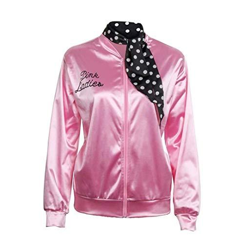JiangJie Kawaii Damen 1950er Jahre Pink Satin Jacke mit Halstuch T-Bird Damen Danny Halloween Kostüm Kostüm Damen Mäntel Trainingsanzug für Damen Jacke Damen Retro Jacke Damen Kostüm (Pink Ladies T Birds Kostüm)