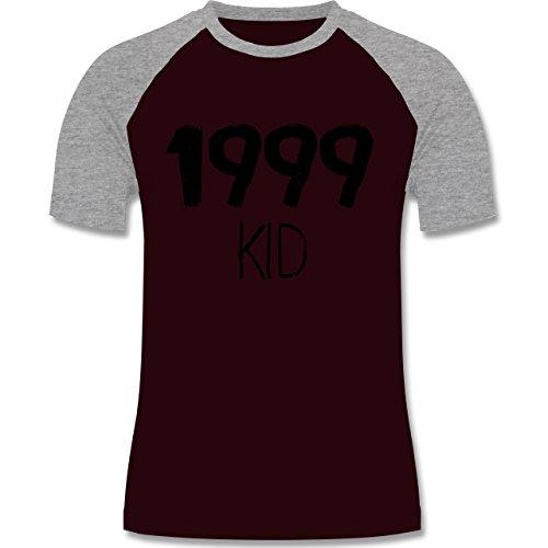 Geburtstag - 1999 KID - zweifarbiges Baseballshirt für Männer Burgundrot/Grau meliert