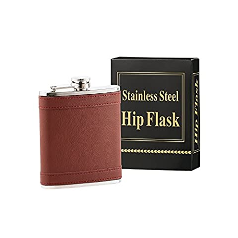 HEESUNG Premium Hip Flask For Men & Women - 18/8 Stainless Steel 7 oz Liquor Flask Wrapped With Wine Red Colour Leather whiskey flasks