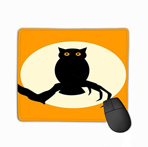 Spooky owl Silhouette Over orange Lovely Rectangle Rubber Mousepad 11.81 X 9.84 Inch ()