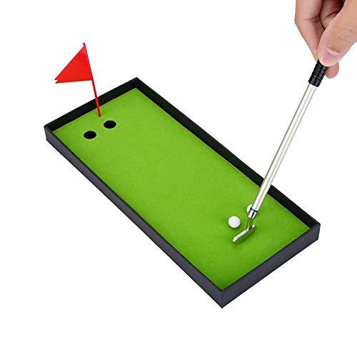 Golfschläger Golfschläger Mini Desktop Golf Set Geschenkset mit grüner Flagge 3 Farben Metall Golfschläger Modelle Kugelschreiber 2 Bälle Deko für Golferliebhaber -