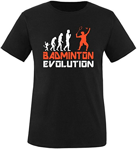 EZYshirt® Badminton Evolution Herren Rundhals T-Shirt Schwarz/Weiss/Orange