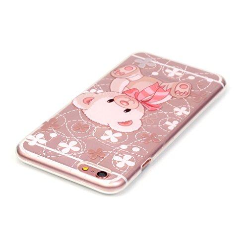Trumpshop Smartphone Case Coque Housse Etui de Protection pour Apple iPhone 5/5s/SE Série Transparente + Fleur de pêche + Flexible Silicone TPU Anti-rayures Absorption de Choc Ours mignon de bébé