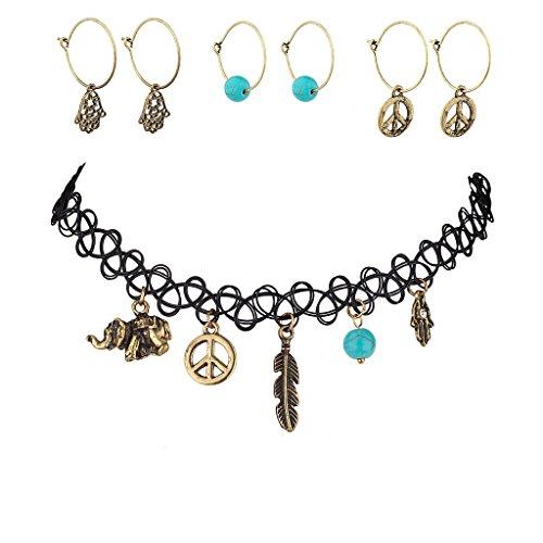lux-accessories-tattoo-halskette-mit-anhangern-passende-ohrringe