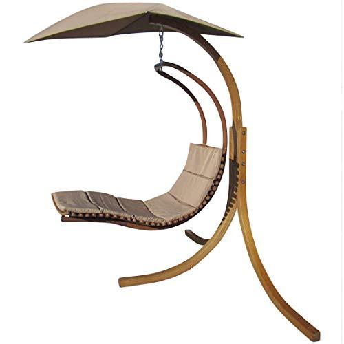 CONCEPTION Hamac support Navassa mélèze bois avec fauteuil suspendu accroché couchette couchette pendre transat et parasol