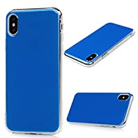 MAXFE.CO iPhone X Case Pure Color TPU + PC Hybrid Cover Case Drop-Protection Design Bumper Shockproof Grip Case for iPhone X - Blue