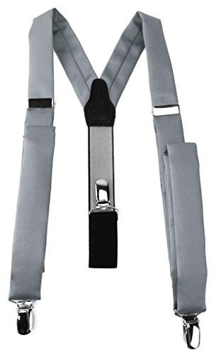 TigerTie schmaler Unisex Hosenträger in Y-Form mit 3 extra starken Clips - Farbe in silbergrau einfarbig Uni - hochwertige Verarbeitung