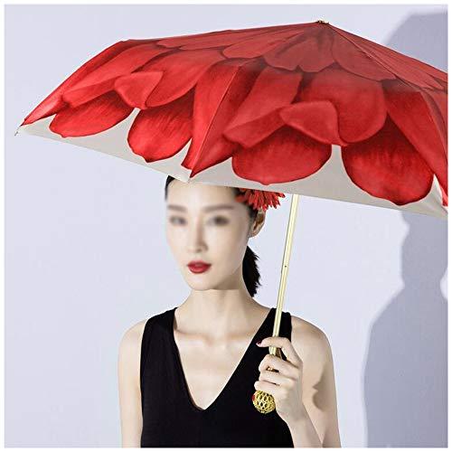 DREI Falten Blume Taschenschirm für Frauen, Hohl Golden Ball Sonnenschutz UV Kompakte Reiseschirme Doppelschicht Tuch Handwerk Sonnenschirm,Red -