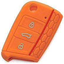 2 Piezas VW SKODA SEAT 3 Botones Silicona Funda para llave de coche / Carcasa de silicona suave para llave / Car key cover - para Volkswagen VW Golf 7 GTI Golf VII MK7 Skoda Octavia A7 Seat Leon 5F SC ST(Naranja)