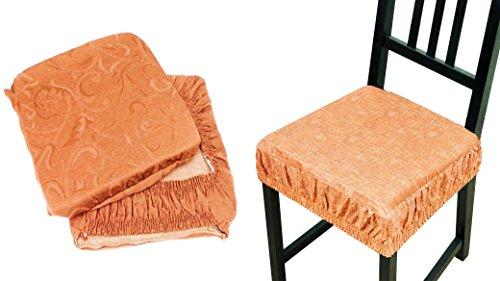 Takestop® set 6 coprisedia cuscini arancione con fascia elastico cuscino per sedie imbottito sfoderabile trama casuale