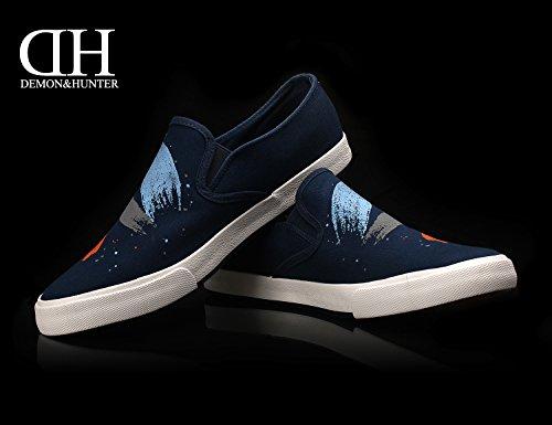 Demon&Hunter KU-DA Series Herren Slip On Sneaker No.III 403186U x Blau