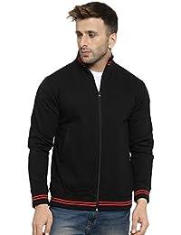AWG Men's Rich Cotton High Neck Sweatshirt Jacket with Zip - Black/Red