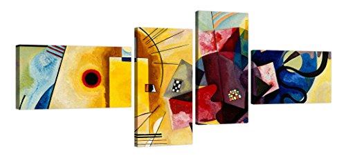 luxhomedecor Marco Moderno Wassily Kandinsky Yellow Red Blue cm 160x 70Impresión Sobre Lienzo con Bastidor de Madera Muebles Arte Colcha Abstracto