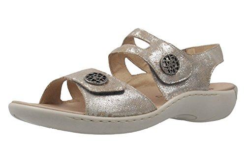 REMONTE Damen Sandalen Grau Metallic Schuhe in Übergrößen Grau ... 9cfc4a5b00