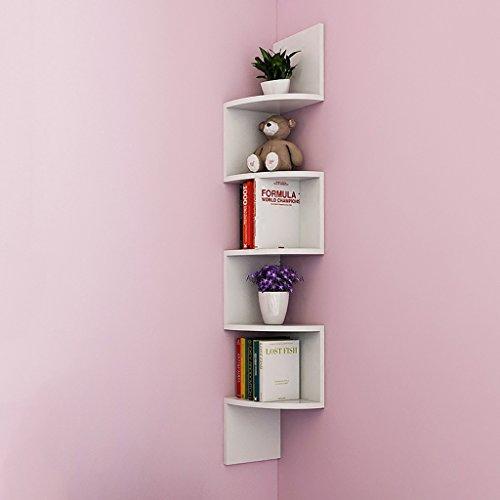 Espositori da parete galleggianti a parete 5tier, pensili a parete, altezza totale 115.5cm, w19.5cm, bianco