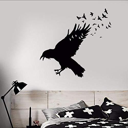 Wsxwga Vinyl Wandtattoo Schwarz Rabe Vogelschwarm Wandaufkleber GotikWohnkulturVögel Tier VinylWandaufkleberDekor57 * 55 Cm (Jugend Raben)