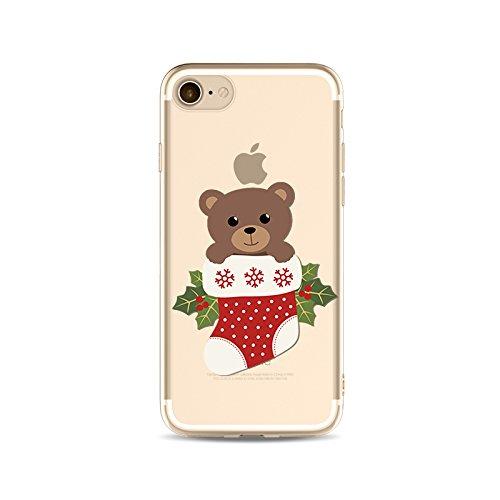 "CoqueiPhone 7 Etui Housse Xmas,BoomTeck Coque Pour 4.7"" Apple iPhone 7 Silicone Souple Transparente Motif Clear Ultra Mince Anti Choc Anti-rayures Gel TPU Etui Protection Bumper Case Merry Christmas  07"