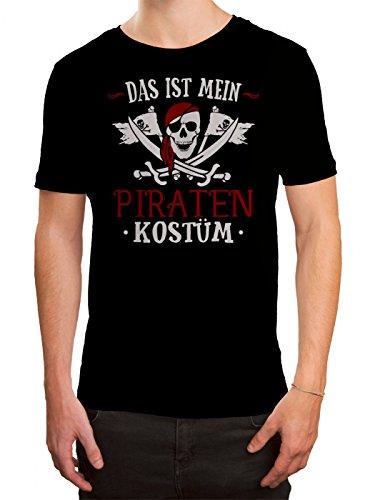 Kostüm Pirat Premium T-Shirt Verkleidung Karneval Fasching Herren Shirt, Farbe:Schwarz (Deep Black L190);Größe:M