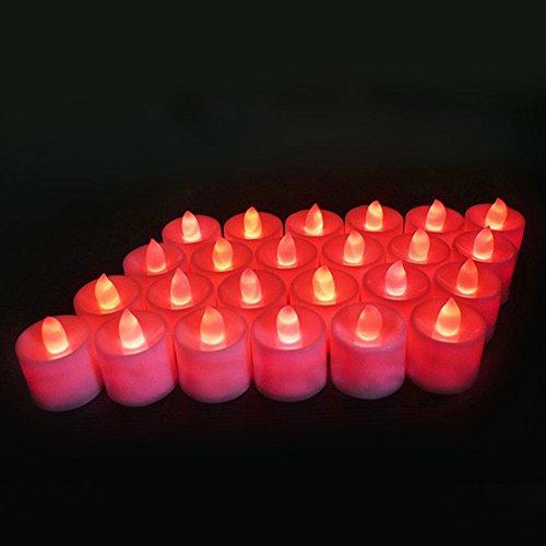 Gemini _ Mall 24Stück batteriebetriebene, flackernde LED-Kerzen ohne Duft, flammenlose LED-Teelichter, helle elektrische, unechte Kerzen für Zuhause, Hochzeit Weihnachtsschmuck rot