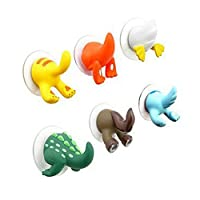 Q4Home Animal Suction Hooks for Bathroom or Kitchen. Kids Bathroom Suction Hooks. Pack of 3.