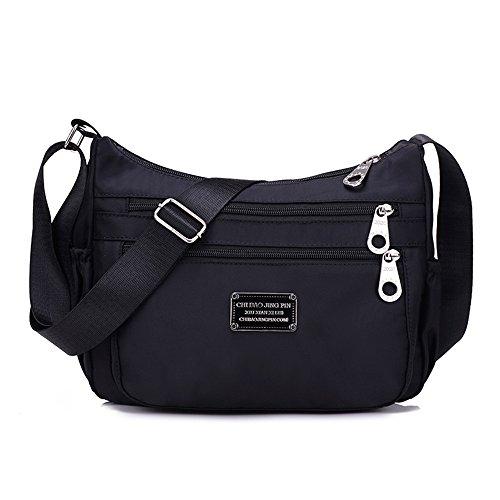 Crossbody Handtasche für Frauen, sportliche Tasche Damentasche Handtasche / Schultertasche / Umhängetasche aus Nylon (Schwarz) (Handtaschen Cross Body Schwarz Stoff)