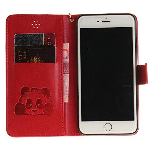 Custodia per iPhone 6S in Pelle,SKYXD Cover per Apple iPhone 6 Custodia Flip Libro 360 Gradi PU Wallet / Porta Carte / Chiusura Magnetica Case Caso di Morbida Colorato Panda Designi PU Portafoglio Sup Rosso