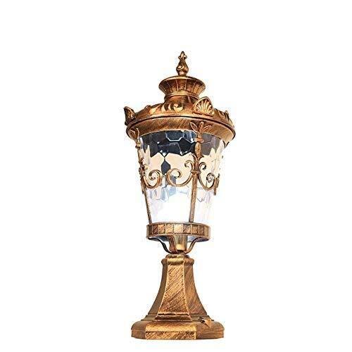 JZMB European Antique Bronze Column Light Ein-Licht Außenpfosten Laterne Wasserdicht IP55 Glaspfad Laterne E27 Luxus Kolonial Retro Pavillon Dekor Lichter (Plus Pendelleuchte In)