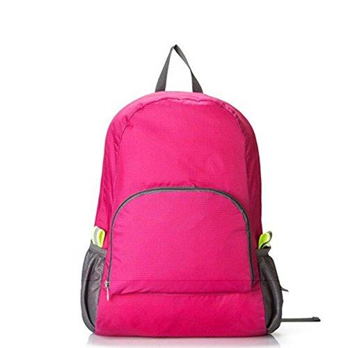 Bonamana leichter faltbarer verpackbarer Rucksack Wasserdichter und langlebiger Rucksack Daypack mit 30L großer Kapazität (Rose Rot) (Check Nylon-einkaufstasche)