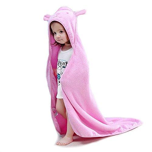 Golden Rule Premium Kapuzen Baby Badetuch Waschlappen, Super Dick und weich und saugfähig Bambus Bad Handtücher für Neugeborene Jungen oder Mädchen & Kids (Rosa) - Kapuzen-badetuch/2 Waschlappen