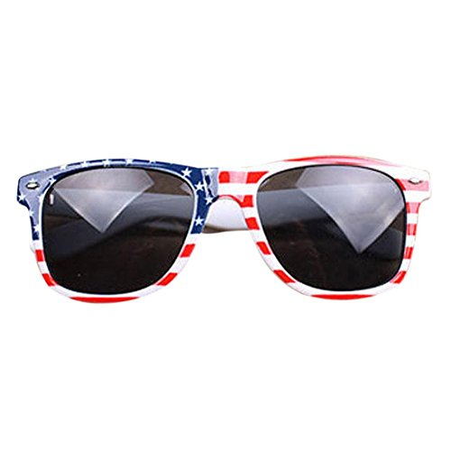 Anglewolf Vintage Square Novelty Mosaic Sunglasses Patriot UV 400 Glasses (American Flag)