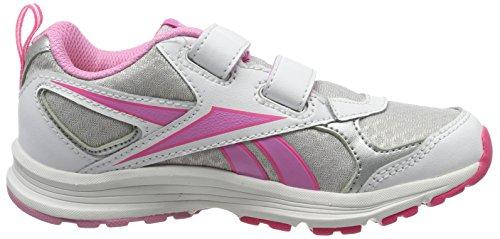 Reebok Almotio RS 2V, Baskets Basses Bébé Garçon Blanc / Argenté / Rose (White/Silver/Icono Pink/Solar Pink)