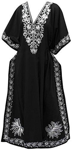 La Leela longue plage de robe de designer de maillots de bain maillot de bain kimono de femmes couvrir kaftan noir