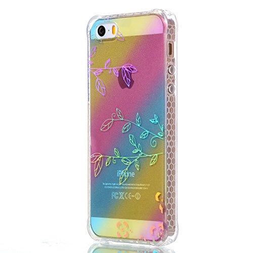 Apple iPhone SE 5 5G 5S Coque, Voguecase TPU avec Absorption de Choc, Etui Silicone Souple Transparent, Légère / Ajustement Parfait Coque Shell Housse Cover pour Apple iPhone SE 5 5G 5S (Placage color Placage colorés-Branches