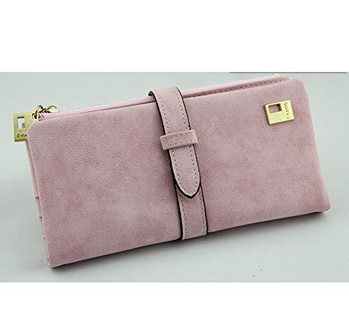 YUHUANG Lange 2er-Packs, Damen-Falttasche mit Lederschnur mit Reißverschluss, Damen-Wildleder-Brieftasche und Damenhandtasche,C -
