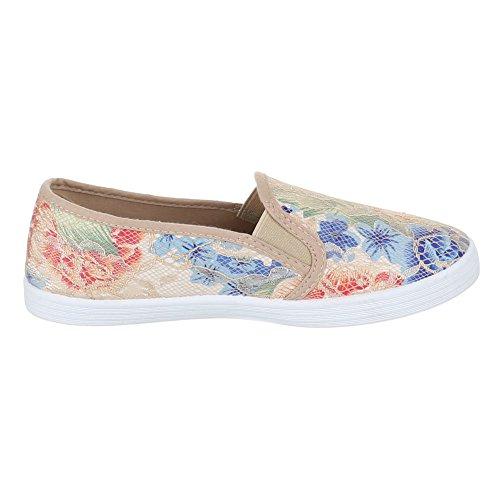 ... Damen Schuhe, FC16-V01, Halbschuhe MODERNE SLIPPER Beige Multi