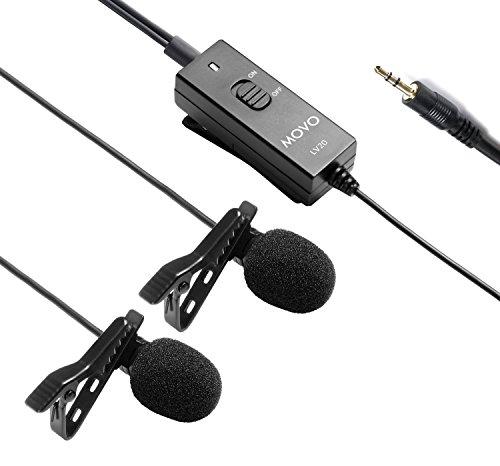 Movo LV20 zweiköpfiges, batteriebetriebenes, Lavalier Clip-on, omnidirektionales, Kondensator-Interview-Mikrofon für Kameras, Videokameras und Recorder (TRS 3.5mm Stecker)