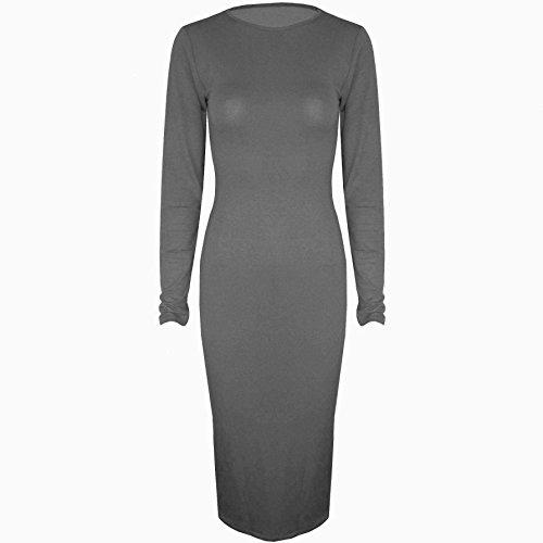 Be geloso - elastico teir Jersey a maniche lunghe collo aderente con scollatura rotonda paccs dell'abito Grigio scuro