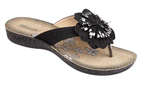 Koo-T ,  Damen Sandalen mit Zehensteg Schwarz
