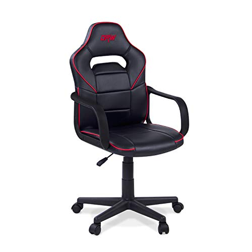 Adec - DRW, Silla de escritorio estudio o despacho, sillón gaming acabado en color Negro y Rojo, medidas: 60 cm (ancho) x 98 - 108 cm (alto) x 45 cm (fondo)