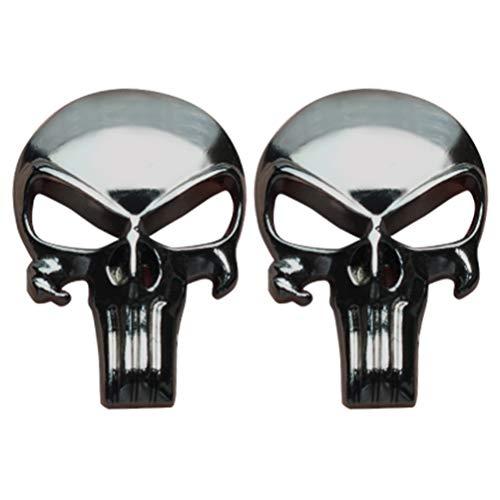 Creatrill Gunmetal Beschichtung 3D Metall Sticker/Aufkleber-Tactical Skull für Gun Magazin, Magwell, Mag, Auto, LKW, Motorrad, Etc, 2er-Set